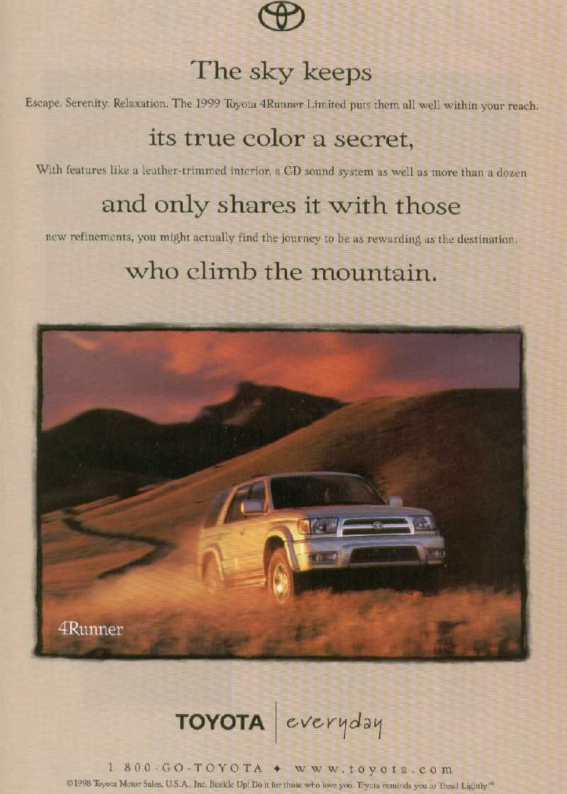 Toyota 4runner Highlander Information 2000 Interior Light This Is The Only Advertisement I Have Seen It From Premiere Issue Of National Geographic Adventure Magazine Volume One Number